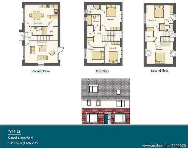 New 5 Bedroom Detached House Type C1, Ashfield, Ridgewood, Swords, County Dublin