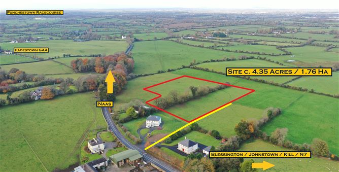 Main image for Site c. 4.35 Acres/ 1.76 Ha., With Planning for Detached Bungalow. Eadestown Village, Naas, Kildare