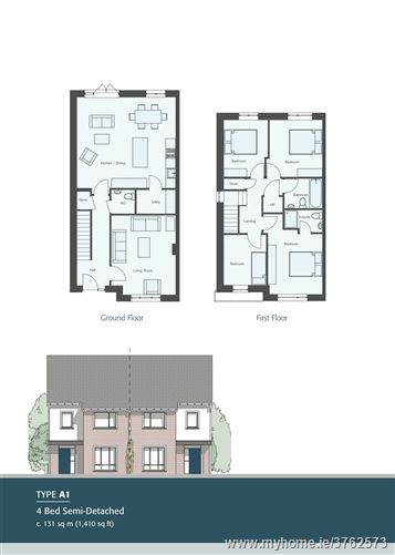 New 4 Bedroom Semi-Detached House Type A1 Ashfield, Ridgewood, Swords, County Dublin