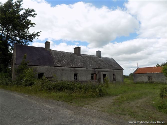 Derelict Cottage with full planning permisson for 1600 sq ft new bungalow, Ballinakill, Walsh Island, Geashill, Offaly